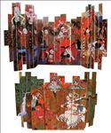 The Red Bride, 2011, Tempera and gold leaf on wood folding, 245x400cm