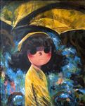 Yellow Rain Coat Girl, 2014, Acrylic on canvas, 120x100cm