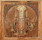 ธรรมปรัชญา : เทวานุภาพ, Dharma Philosophy : The Divine Power, 2007, Mixed media on teak, 100x104cm