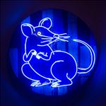 Rat, 2016, Acrylic and neon light on wooden panel, Diameter 100 cm.