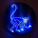 Monkey, 2016, Acrylic and neon light on wooden panel, Diameter 100 cm.