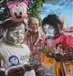ปู่กับหลาน, Grandfather and grandchild, 2014, Oil on canvas, 190x200cm