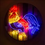 Rooster, 2016, Acrylic and neon light on wooden panel, Diameter 100 cm.
