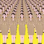 ข้าราชการ HAPPY Civil Servants (Female), 2018, Print on vinyl, 150x150 cm.