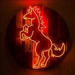 Horse, 2016, Acrylic and neon light on wooden panel, Diameter 100 cm.