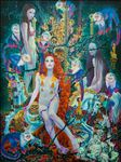 Artist : Boonhlue Yangsuay, The long hair Princess of legend and a tree of credulity, 2019, Oil on canvas,  200x150 cm.
